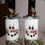 Снежни човечета - декорация за бутилка вино