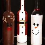 Рисувани бутилки вино за Коледа