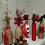 Декорирани бутилки от вино за Коледна украса